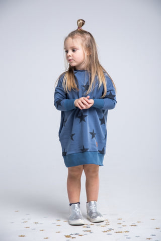 Casual girl navy dress-  The Stars!girl dress - Flamingolandia.online