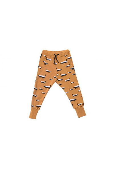 Kids mustard cotton pants with pockets - Badgers! | Flamingolandia