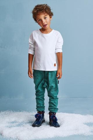 Kids mint green cotton pants with pockets - Bears! | Flamingolandia