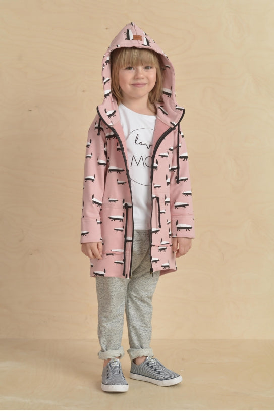 Casual kids pink long hoodie - BADGER! | Flamingolandia