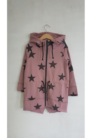 Casual kids long pink hoodie - STARS! | Flamingolandia
