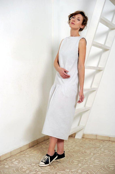Lightweight sleeveless grey summer dress  I  Whoosh,dress- Flamingolandia.online