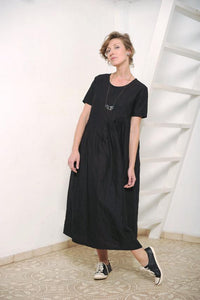Linen asymetric long dress  I  Silver Shine Whoosh - Flamingolandia.online