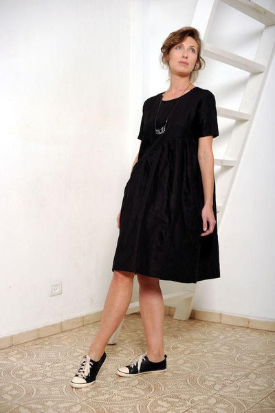 Linen asymmetric mini dress  I  Silver Shine Whoosh,dress- Flamingolandia.online