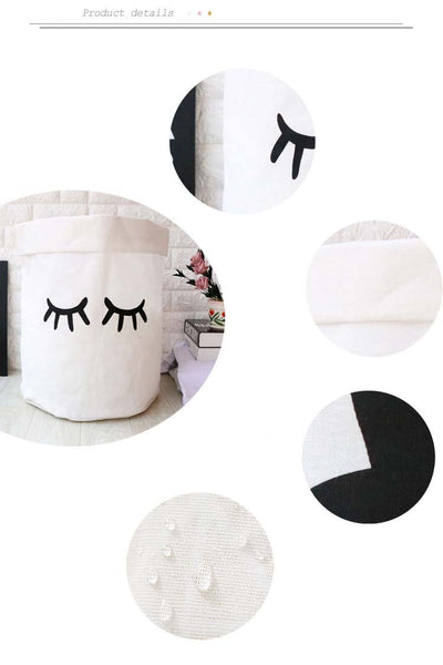 Linen cute home organizers - Black & White | Flamingolandia