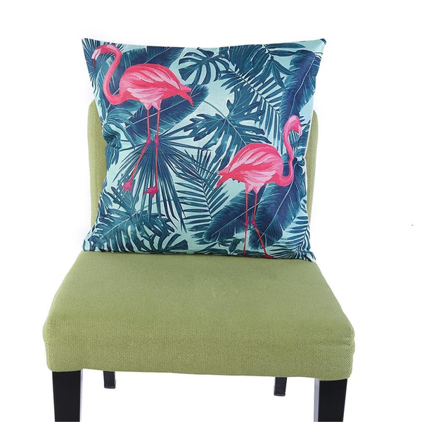 Linen Vintage Flamingo Pillow Covers - Flamingo in the Leaves - Flamingolandia.online