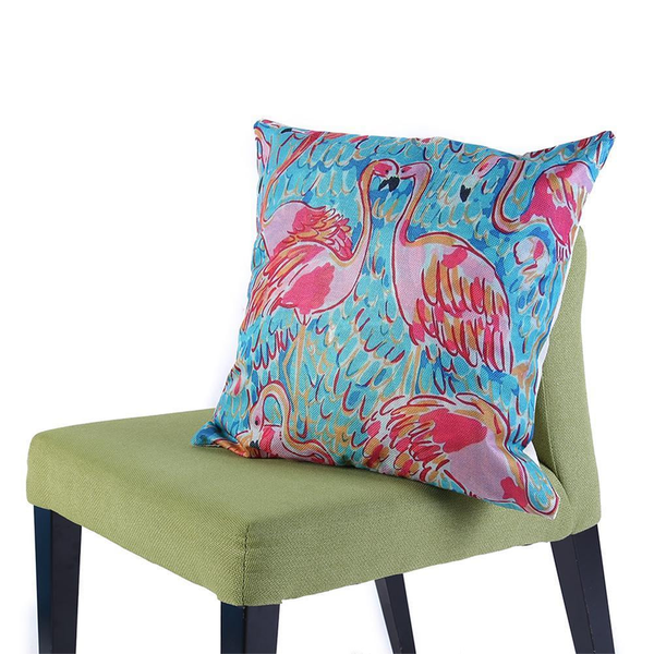 Linen Vintage Flamingo Pillow Covers - Flamingos in Laguna,Pillow cases- Flamingolandia.online