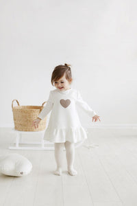 Little heart dress - white warm color | Flamingolandia