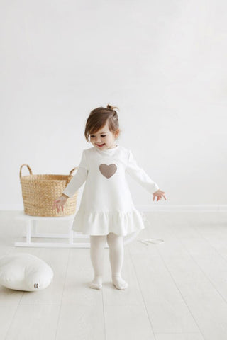 Little heart dress - white warm color,dress- Flamingolandia.online