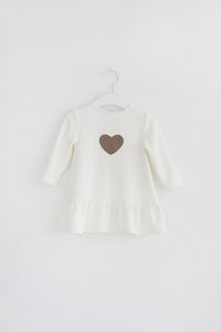 Little heart dress - white warm color - Flamingolandia.online