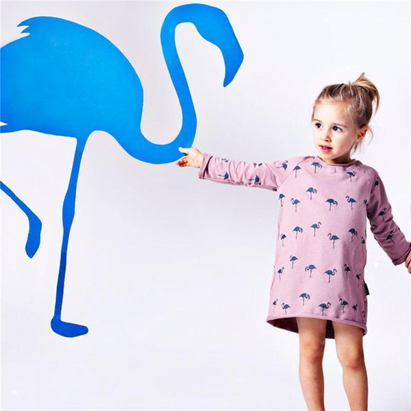 Long sleeve casual mini dress - Flamingo family! | Flamingolandia