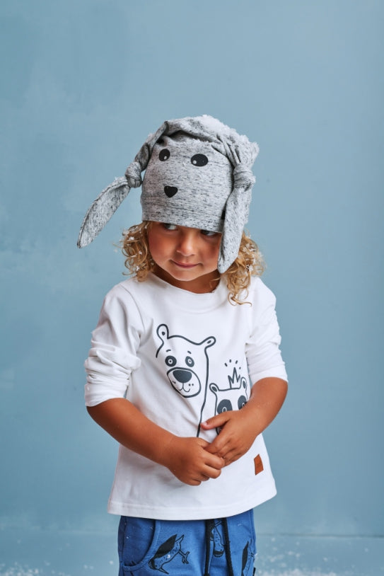 Kids white longsleeve jumper - Teddy Bear! | Flamingolandia