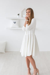 Morning smile dress- warm white color,dress | Women fashio shop|  Flamingolandia.online