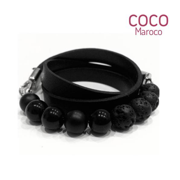 "Natural leather bracelet -   ""CM Secret - Absolut Black"" Coco Maroco,Bracelet 