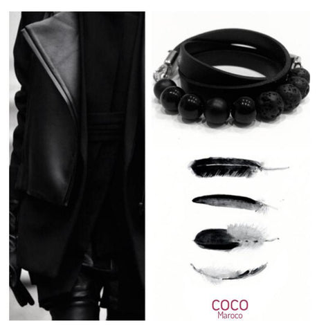 "Natural leather bracelet -   ""CM Secret - Absolut Black"" Coco Maroco,Bracelet- Flamingolandia.online"