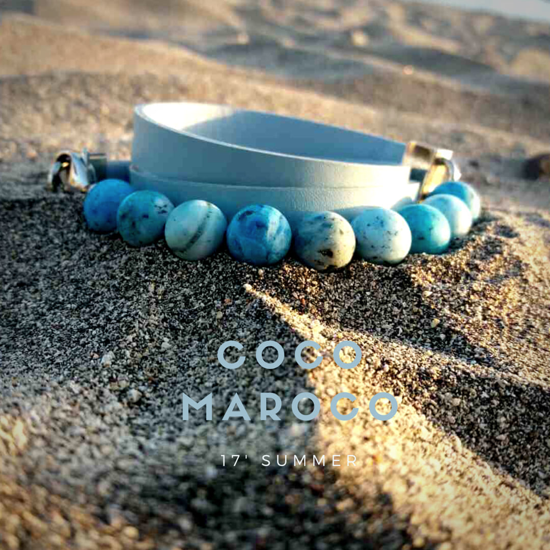 "Natural leather bracelet -   ""CM Secret - Ocean"" Coco Maroco,Bracelet 