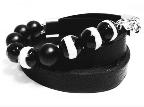 "Natural leather bracelet -    ""CM secret. Black - White"" Coco Maroco 