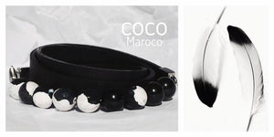 "Natural leather bracelet -    ""CM secret. Black - White"" Coco Maroco,Bracelet- Flamingolandia.online"