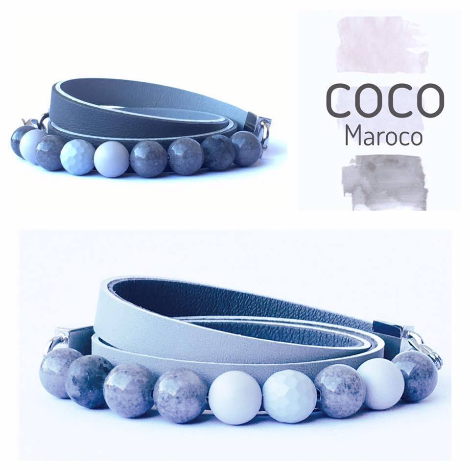 "Natural leather bracelet -    ""CM secret. Grey City"" Coco Maroco 