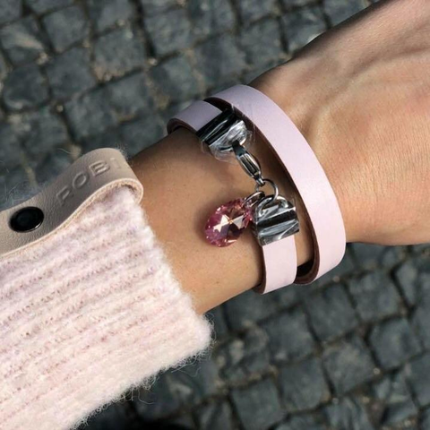 "Natural leather bracelet -    ""CM secret. Some Pink"" Coco Maroco,Bracelet- Flamingolandia.online"