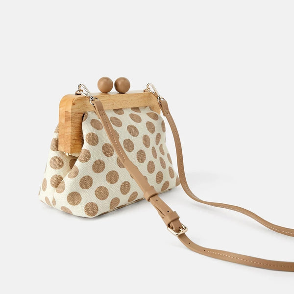 Crossbody vintage style clip bag with dots! | Flamingolandia