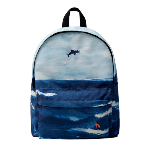 Canvas backpack - Ocean lifebackpack - Flamingolandia.online