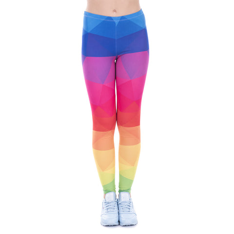 High waist stretchy leggings - Colorful Triangles Rainbow,Leggings- Flamingolandia.online