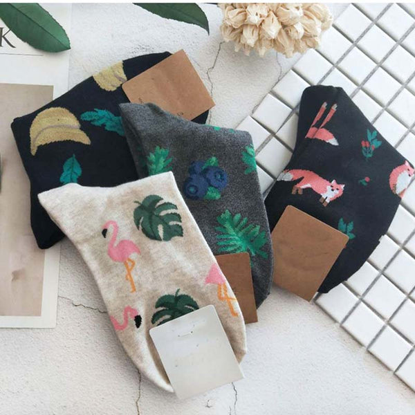 High-quality cotton socks - Banana leaves | Flamingolandia