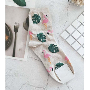 High-quality cotton socks - Flamingo time | Flamingolandia