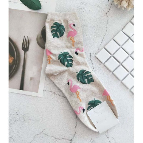 High-quality cotton socks - Flamingo time