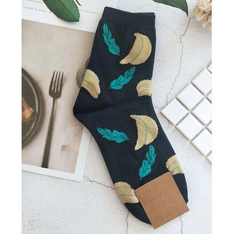 High-quality cotton socks - Banana leaves
