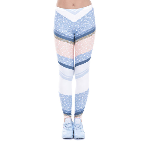 High waist elastic leggings - Simple geometry blue,Leggings | Women fashio shop|  Flamingolandia.online