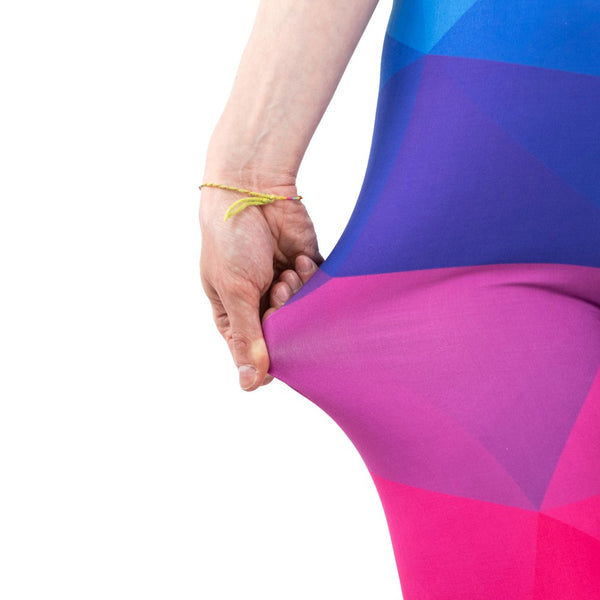 High waist stretchy leggings - Colorful Triangles Rainbow | Flamingolandia