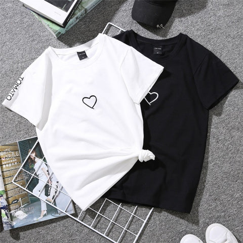 Casual women T-Shirt - Love Heart | Flamingolandia