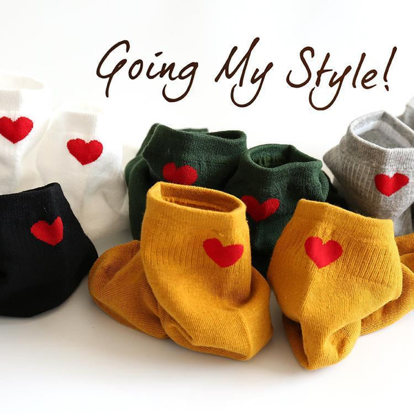 Red Heart Colorful Cotton Socks  - To be Cute in details,Socks | Women fashio shop|  Flamingolandia.online