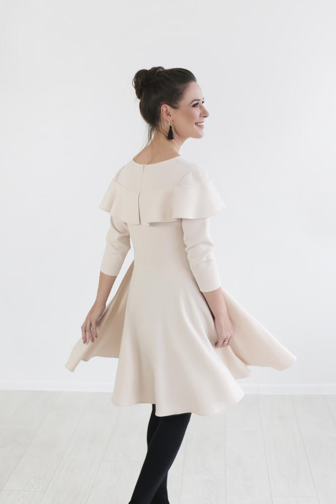 Spring-Fall dress -Light beige color - Flamingolandia.online