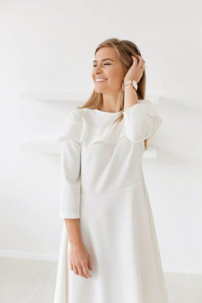 Spring-Fall dress - White warm color | Flamingolandia
