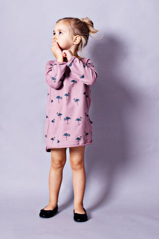 Long sleeve casual mini dress - Flamingo family!,dresses- Flamingolandia.online