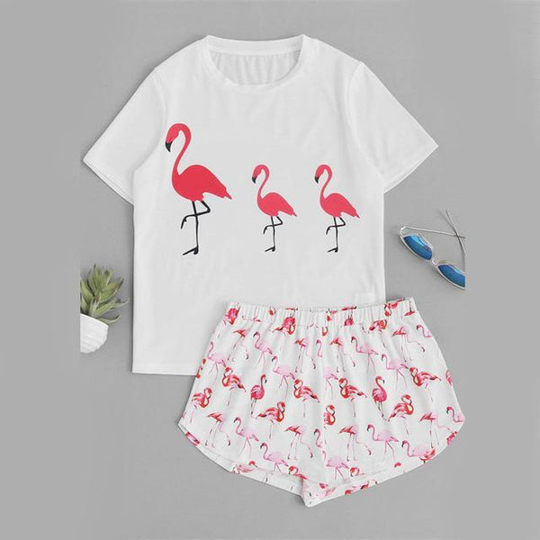 SUPER CUTE FLAMINGO TEE & SHORTS PAJAMAS SET ! Flamingo x3,Pajamas | Women fashio shop|  Flamingolandia.online