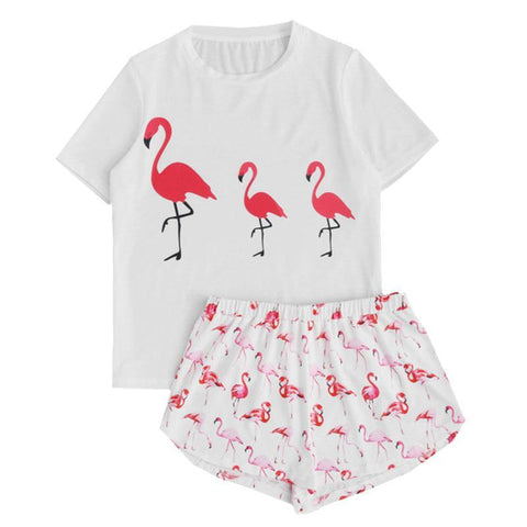 SUPER CUTE FLAMINGO TEE & SHORTS PAJAMAS SET ! Flamingo x3,Pajamas- Flamingolandia.online