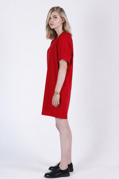T-shirt bright red mini tunic dress |  Whoosh - Flamingolandia.online