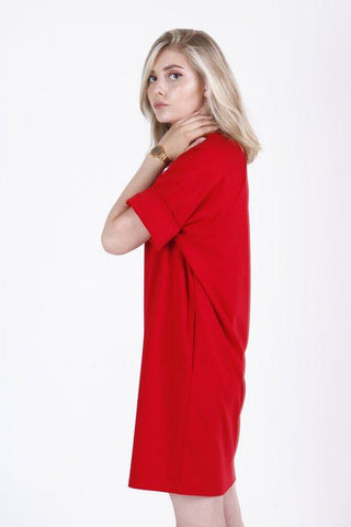 T-shirt bright red mini tunic dress |  Whoosh,dress | Women fashio shop|  Flamingolandia.online