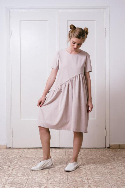 Tencel asymmetric mini  dress  I  Dusty pink Whoosh | Flamingolandia