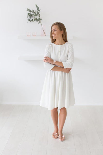 Wet grass dress - white warm color,dress | Women fashio shop|  Flamingolandia.online