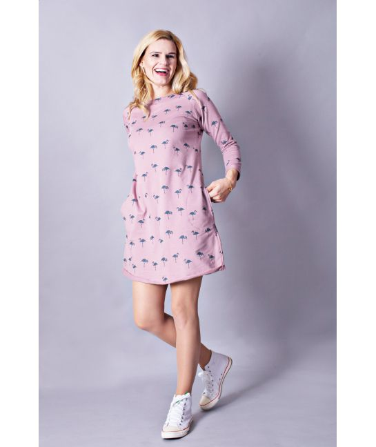 Casual women cotton pink dress - The Flamingo family! | Flamingolandia