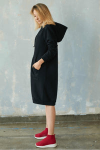 Trendy black hoodie dress | Flamingolandia