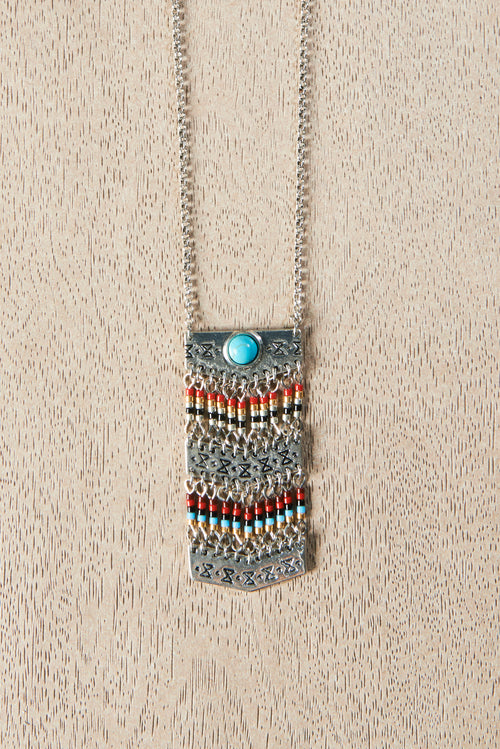 COLLIER CHEYENNE ARGENT/TURQUOISE