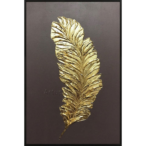 Gold Feather Art Painting on Canvas Acrylic Wall Art.   7 sizes