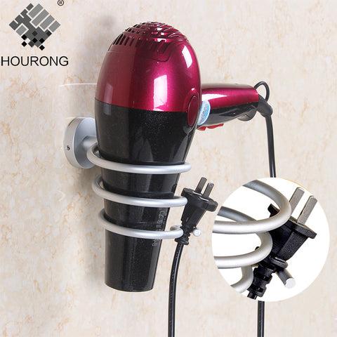 Space Aluminum Hair Dryer Holder Wall Mounted Rack Shelf.