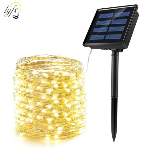 50/100/200 led solar LED Light Waterproof LED Copper Wire String Holiday